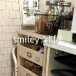 冷蔵庫横→レンジ台奥へ移動したチェストの収納